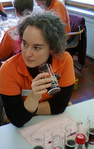 Mirella Amato judging beer
