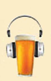 A pint wearing headphones, the logo for the Ontario Brewer Podcast